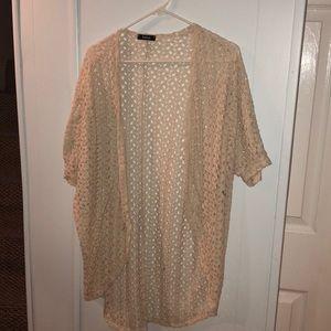 Short Sleeve Lace Cream Colored Cardigan